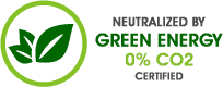 Green Website 0% CO2 - Carbon Footprint Neutralized by Green Energy Production Certified